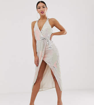 Asos Tall DESIGN Tall midi dress in pearl and sequin patched embellishment