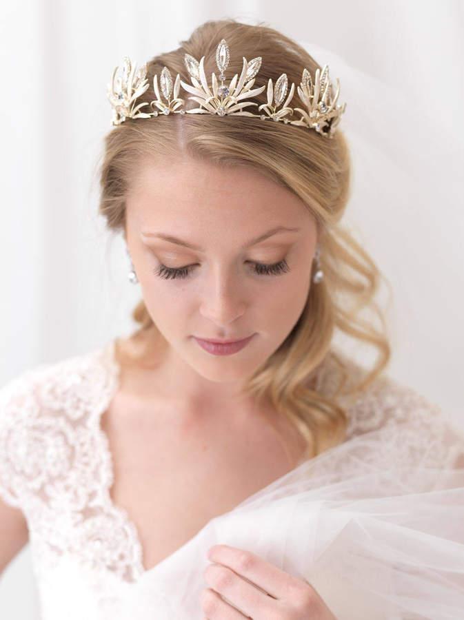 Etsy Floral Gold Bridal Crown, Gold Flower Crown, Gold Floral Wedding Tiara, Rhinestone Crown, Bridal Acc