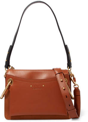 Chloé Roy Small Leather And Suede Shoulder Bag - Brown