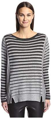 James & Erin Women's Cashmere Striped Boat Neck Sweater