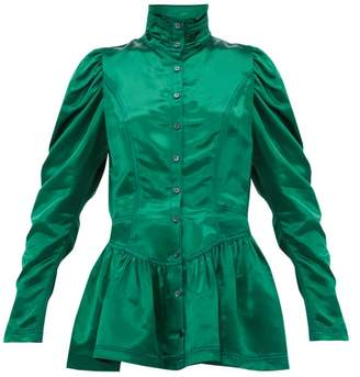 Sies Marjan Thea Bodice Satin Jacket - Womens - Dark Green
