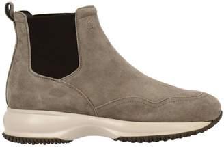 Hogan Flat Booties Chelsea Interactive Sneakers In Suede With Elasticated Bands