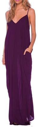 Kufv Women's V Neckline Spaghetti Straps Side PocketS One Piece Summer Long Dress