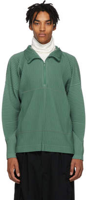 Issey Miyake Homme Plisse Green MC Zip-Up Jacket