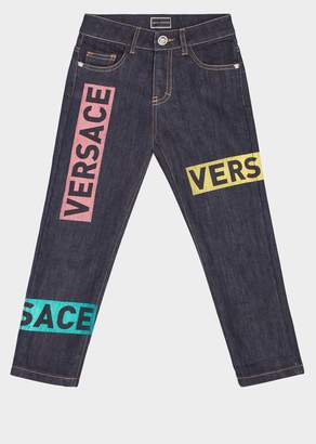 Versace Colorful Logo Patches Jeans