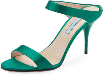 Prada Satin Two-Strap Slide Sandals