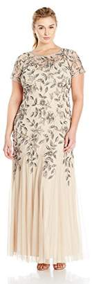 Adrianna Papell Women's Plus Size Floral Beaded Gown With Godets