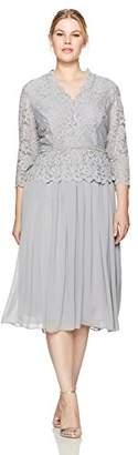 Alex Evenings Plus Size Women's Faux-wrap Mock Lace Dress with T-Length Skirt