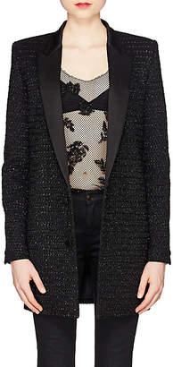 Saint Laurent Women's Embellished Wool-Cashmere Long Two-Button Blazer - Black