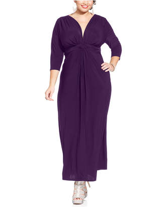 08111ffb290 Love Squared Plus Size Three-Quarter-Sleeve Knotted Maxi Dress