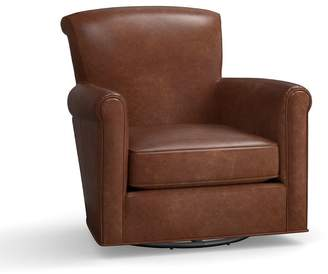 Pottery Barn Irving Leather Swivel Gliders