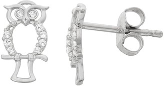 Junior Jewels Kids' Sterling Silver Cubic Zirconia Owl Stud Earrings
