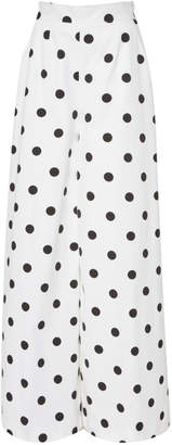 Oscar de la Renta Polka-Dot Cotton Wide-Leg Pants