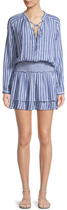 Rails Jasmine Long-Sleeve Tie-Neck Smocked-Waist Striped Linen-Blend Mini Dress