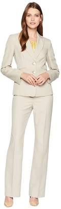 Le Suit Glazed Melange Two-Button Notch Lapel Pants Suit w/ Cami Women's Suits Sets