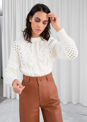 And other stories Cropped Cable Knit Sweater