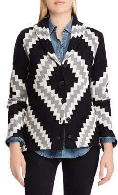 Chaps Patterned Shawl Collar Cardigan