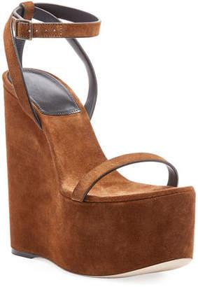 Saint Laurent Suede Wedge Platform Sandals