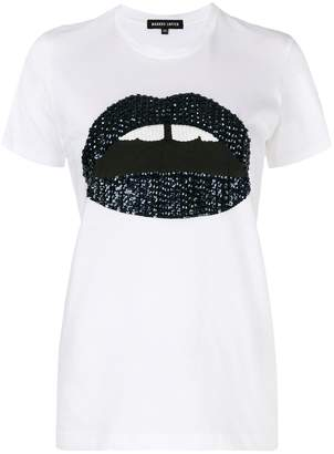 Markus Lupfer Kate sequin Flower lip T-shirt