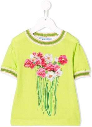 Mi Mi Sol floral short-sleeve sweater