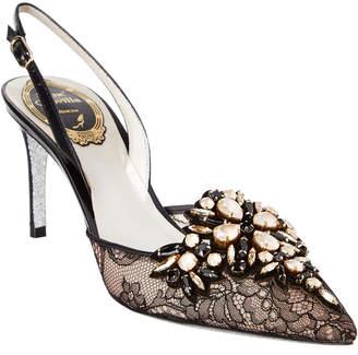 Rene Caovilla Embellished Lace Slingback