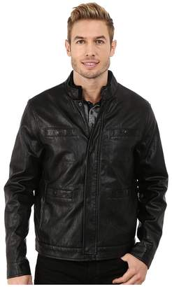 Kenneth Cole New York Distressed Faux Leather Rider's Jacket Men's Coat