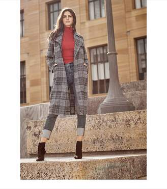 Dynamite Belted Plaid Trench Coat BLACK/WHITE/RED CHECK
