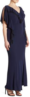 ABS by Allen Schwartz Plus Matte Jersey Ruffle Gown