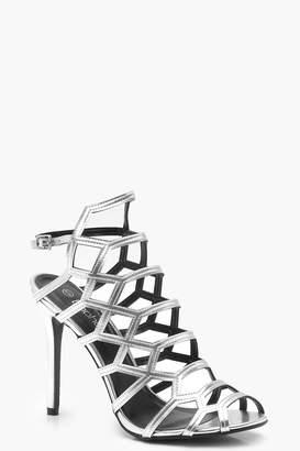 boohoo Peeptoe Cage Sandals