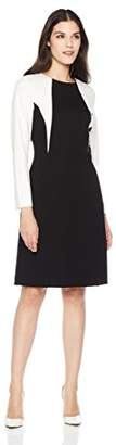Savoir Faire Dresses Women's Long Sleeve Color Block Fitted Dress with Princess Seam