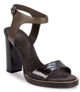 9f4d10773431 ... Brunello Cucinelli Leather Block Heel Ankle-Strap Sandals 4