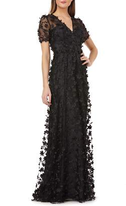 Carmen Marc Valvo 3D Novelty Gown