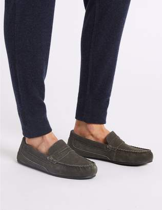 Marks and Spencer Suede Slip-on Slippers with Freshfeet