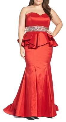 Mac Duggal Beaded Bustier Peplum Gown