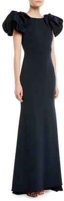 Badgley Mischka Bow-Shoulder Crepe Column Gown