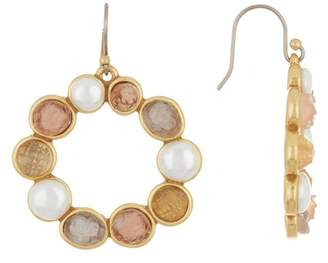 Lucky Brand Druzy & 9mm Pearl Circle Drop Earrings