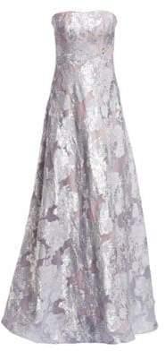 Rene Ruiz Rene Ruiz Women's Fil Coupé Strapless Crystal-Embellished Gown - Platinum - Size 12