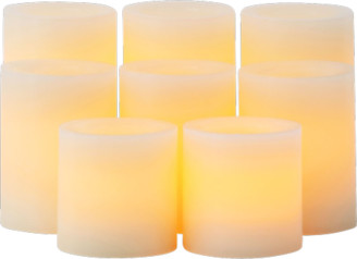 Candle Impressions Real Wax Flameless LED Battery Operated Candles w/Auto Timer Feature - Set of 8 - Cream