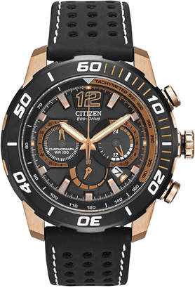 Citizen (シチズン) - Citizen Men's Chronograph Eco-Drive Primo Black Perforated Leather Strap Watch 45mm CA4083-03E - A Macy's Exclusive