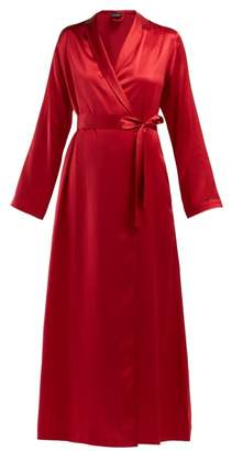 La Perla Lunga Silk Satin Robe - Womens - Red