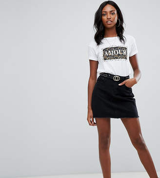 Missguided Tall denim mini skirt in black