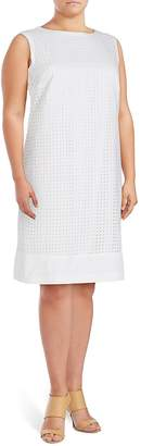 Basler Women's Cotton Eyelet Shift Dress
