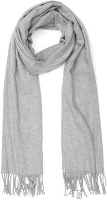 Reiss TEMPLE OVERSIZED FRINGED SCARF Light Grey