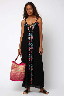 Juniper Blu Embroidered Lace Up Gauze Maxi Dress