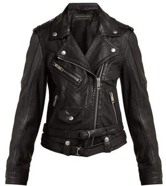 Burberry Leather Biker Jacket - Womens - Black