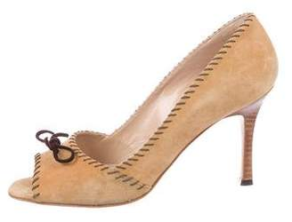 Manolo Blahnik Peep-Toe Suede Pumps