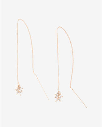 Express Cubic Zirconia Leaf Threader Earrings $24.90 thestylecure.com