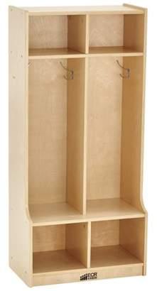 ECR4Kids Birch 2-Section Coat Locker with Bench