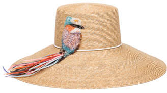 Eugenia Kim Mirabel Straw Sun Hat w/ Beaded Bird Detail