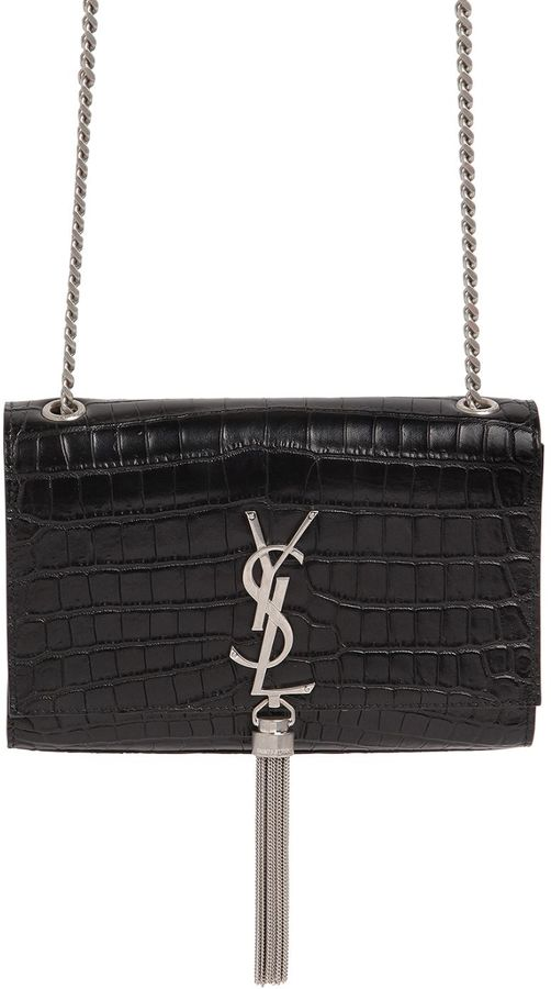 Small Kate Monogram Croc Embossed Bag